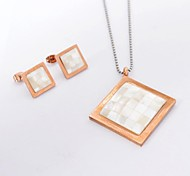 Fashion Rhombus Titanium Steel  Necklaces Earrings Gemstone Jewelry Sets