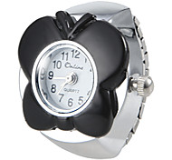 Women's Butterfly Style Silver Alloy Quartz Ring Watch