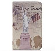 Statue of Liberty-Muster PU-Leder und Hard Back Cover Tasche für Samsung Tab 3 Lite T110