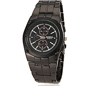Men's Racing Style Black Steel Band Quartz Wrist Watch