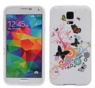 Kreise und Schmetterling Design Öl Beschichtete weiche TPU Tasche für Samsung Galaxy i9600 S5