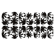 12st Black White Coconut Tree Luminous Nail Art Sticker