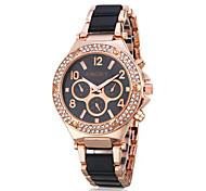 Women's Elegant Diamond Gold Case Steel Band Quartz Wrist Watch (Assorted Colors)