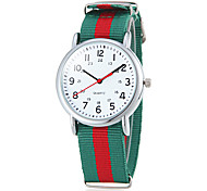 Unisex Casual Style Colorful Frabic Band Quartz Wrist Watch (Assorted Colors)