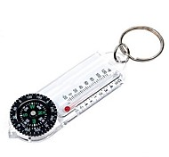 Compass Keychain with Thermometer-White