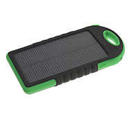5000mAh Solar Flashlight Three Proofings External Battery Black%Green for Mobile Devices with Key Ring