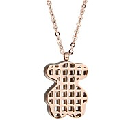 Women's Cute Stainless Steel Rose Gold Bear Pendant Chain Necklace
