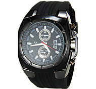 Men's Military Style Black Dial Silicone Band Quartz Wrist Watch