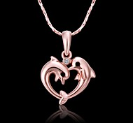 Fashion Rose Gold Plated Alloy Dolphin Pendant Necklace(1 Pc)