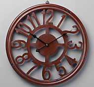 "18""H Retro Wood Red Arabic Numbers Wall Clock"