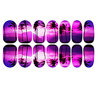 12PCS Purple Coconut Tree Luminosos Romantic Pegatinas Nail Art