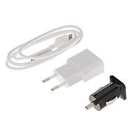 Dual-Puertos estándar de Europa de Autos y cargador de pared + Blanco USB 3.0 Cable original para Samsung Galaxy S5/Note 3