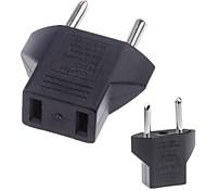 US to EU Plug Travel Power Adapter Converter Black