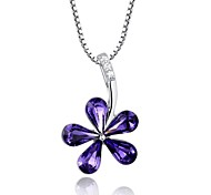 High Quality Lovely Flower Amethyst Sterling Silver Platinum Plated Necklace