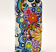 Cent Fleurs soutiennent Motif en beauté PU étui en cuir complet du corps avec fente pour carte et stand pour l'iPhone 5/5S