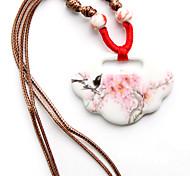 Süß (Pfirsich-Blumen-Muster-Keramik-Anhänger) Braun Stoff Anhänger Halskette (1 Stk.)