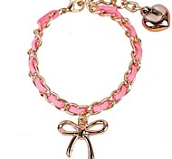 Eruner®Fashion Cartoon Bowknot and Heart Pattern Alloy Fabric Charm Bracelet