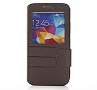 For Samsung Galaxy Case with Windows / Flip Case Full Body Case Solid Color PU Leather Samsung S5