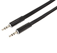 3.5mm Male to Male Audio Connection Flat Cable (Black, 1m)