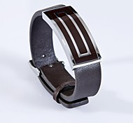 Fashion Men's  Brown Back-shaped 316L Stainless Steel Leather Bracelet
