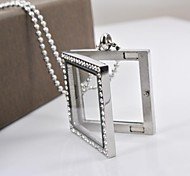 Fashion Square CZ Diamond 316L Stainless Steel Can Put Ornamental Pendant Necklace