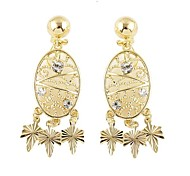 2014 New Design Hollow Out Leaf Accesories Rhinestone Gold Earring Tops Designs