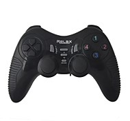 Controller Joypad 2.4GHz Dual-Shock Wireless Game w / receptor USB para PC - Negro (3 x AAA)