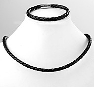 Black PU Leather Braided Bracelet and Necklace Collar Magnetic Clasp