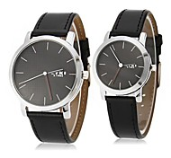 EYKI Couple's Simple Dial Black Leather Band Quartz Wrist Watch (Assorted Colors)