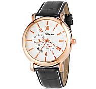 Unisexe Rose d'or élégant cadran rond PU bande de quartz analogique montre-bracelet