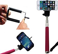 Extendable Selfie Handheld Stick Monopod Pod for iPhone, Samsung ,camera with 1/4 inch Screw Hole (Pink)
