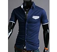 Uomo Pocket colore di contrasto Camicia a maniche corte casuale