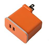 Универсальный компактный Dual USB Съемная 100 ~ 240 В США Plug Power зарядный адаптер - оранжевый