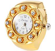 Blumen-Kasten der Frauen Gold-Legierungs-Quarz-Ring-Uhr