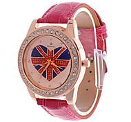 Women's Union Jack Dial Rose PU Band Analog Quartz Wrist Watch