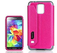 For Samsung Galaxy Case with Stand / with Windows / Flip Case Back Cover Case Solid Color PU Leather Samsung S5