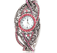 Women's Bohemia Style Pink Crystal Silver Alloy Quartz Bracelet Watch