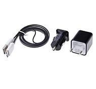 Dual-Puertos estándar de Europa de Autos y cargador de pared + Negro Brillante Cable USB 3.0 para Samsung Galaxy S5/Note 3