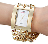 Women's Analog Gold And Silver Square Dial Alloy Band Quartz Analog Fashion Watch