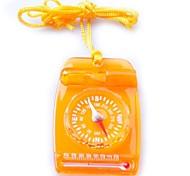 3119 Mini Multi 3-in-1 Transparent Compass/Thermonmeter/Whistle-Orange