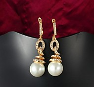 Mother's Day Gift Gold Plate Big Pearl Earring