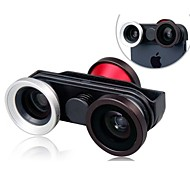 Four-in-One Multifunctional Two Fisheye Lenses with Super Wide and Macro Lens for iPhone 5/5S/5C
