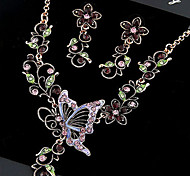European Style Hollow Butterfly Necklace and Earrings