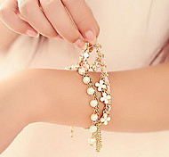 z&x® perla artística 45cm mujeres pulsera del encanto de aleación de oro (multicolor, blanco) (1 unidad)