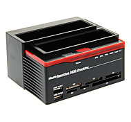 892U2IS All in One HDD USB 2.0 SATA Dual Docking-Station für 3,5 SATA HDD (Schwarz-Rot)