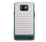 Pink and White Striped Leather Vein Pattern Hard Case for Samsung Galaxy S2 I9100