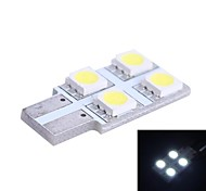T10 0.7W 80LM 4x5050 SMD White LED for Car Reading/License Plate/Door Lamp (DC12V, 1Pcs)