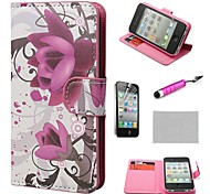 COCO FUN ® Purple Rose Flower Wallet PU Leather hoesjes met standaard voor de iPhone 4S Inclusief Film en Stylus