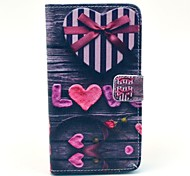 Love Heart Bow Pattern PU Leather Case with Stand Card Holder for Samsung Galaxy Note3 N9000