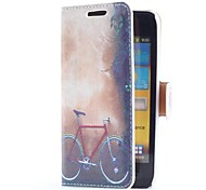Bicycle Style Leather Case with Card Slot and Stand for Samsung Galaxy S Advance i9070